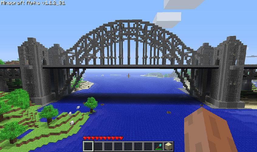 Diversas pontes de madeira ou pedra foram construídas pela comunidade.