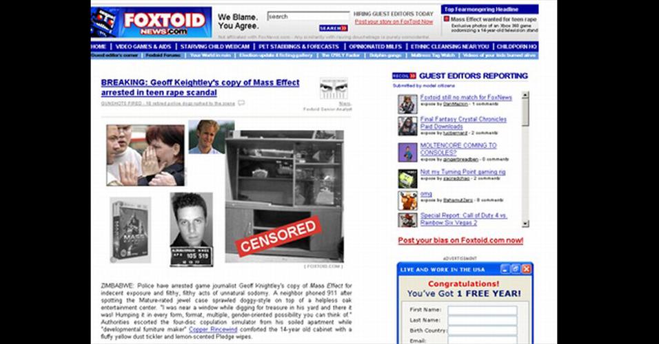 Em 2008 o site norte-americano Destructoid criticou a rede de notícias Fox News mudando nome, visual e até linha editorial - tudo com muito humor ácido