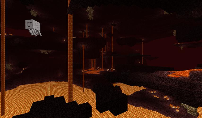 Adicionado no update do Dia das Bruxas, o nether é um mundo infernal cheio de lava e novos inimigos