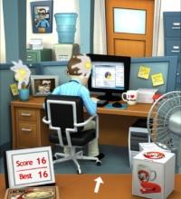 """""""Office Jerk"""" é parecido com """"Paper Toss"""", mas tem gráficos mais bonitinhos"""